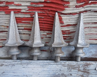 4 vintage Finials fence post Spears hammered metal Supplies Architectural salvage