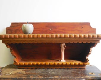 Vintage Wood shelf Wall Tramp Folk Art Architectural Salvage decorative light wood shelves