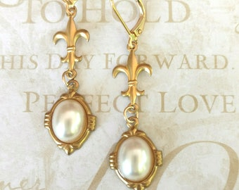 Victorian Jewelry - Pearl Earrings - Victorian Earrings - Edwardian Jewelry - Reign - Assemblage Earrings - Titanic Jewelry