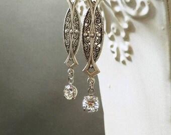 Art Deco Wedding Earrings - Art Deco Jewelry - 1920s Jewelry -  Jewelry for Bride - Downton Abbey Style Jewelry - Womens Jewelry