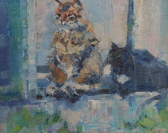 Cat painting, cats in a window, palette knife, black cat, calico cat, Farmhouse Decor, kitchen art, 6x6, Cottage chic, Country decor, gift