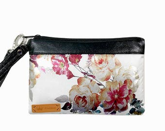 Floral Foil Smartphone Wristlet iPhone 8 Plus Samsung Galaxy S8 plus Card Holders Zip Closure