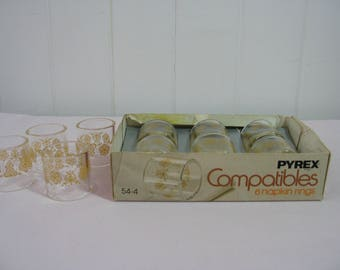 Vintage Pyrex Compatible Butterfly Gold Napkin Rings - total of ten - Corning - Made in USA