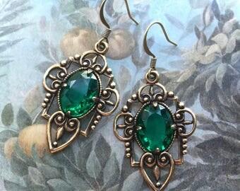 Rhinestone Earrings - Green Earrings - Emerald Earrings - Dangle Earrings - Glass Earrings - Drop Earrings - Vintage Rhinestone Jewelry