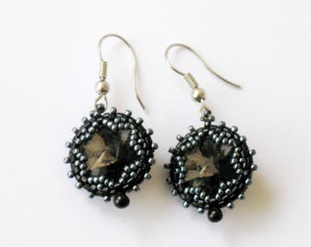 Beadwoven earrings OOAK Black diamond Rivoli swarovski Crystals Christmas Holiday silver grey pierced earrings