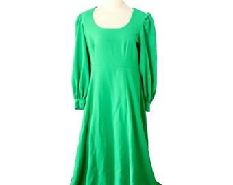 50% half off sale // Vintage 70s Kelly Grass Green Renaissance Dress // Women Medium Large Full Length // mod, vibrant