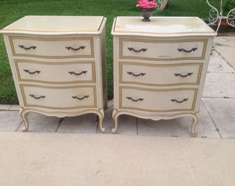 """FRENCH PROVINCIAL NIGHTSTANDS / Drexel Nightstands / 30"""" tall Louis Xv Style Nightstands / Pair of Shabby Chic Nightstands Retro Daisy Girl"""