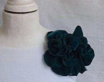 Oversized Flower Brooch/Clip Combo in Teal Velvet