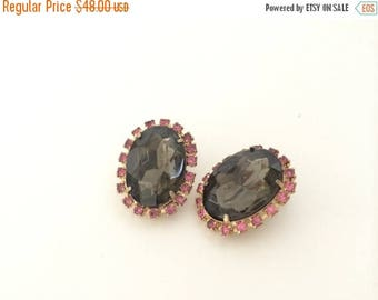 Juliana Delizza and Elster Earrings D & E Rhinestone Pink and Smokey Grey