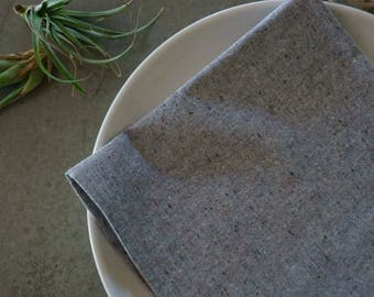 grey organic cloth napkins, recycled organic cotton, hemp, set of 2, eco-friendly, reusable, cloth napkins, modern dinner napkins