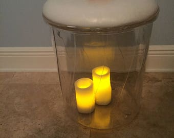 """LUCITE/ACRYLIC STOOL, Lucite Tuft, Lucite Vanity Stool, Clear Vanity Stool, 17"""" Height x 15"""" Diameter,  Mcm, Vintage Lucite at Modern Logic"""
