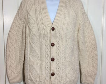 1980's wool fisherman Irish cardigan sweater looks size small to medium cream color thick chunky knit