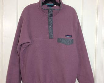 Vintage Patagonia snap T fleece pullover jacket size medium mauve purple gray lavender made in USA