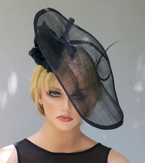 Black Fascinator, Kentucky Derby Hat, women's black hat Saucer Hat, Percher Formal Black Hat, Dressy Hat, Horse race hat, Occasion Event Hat