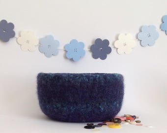 FELTED 'FUSSPOT' bowl . ' Deep Sea'  ( a blue / turquoise blend ) ....UK seller..ready to ship......