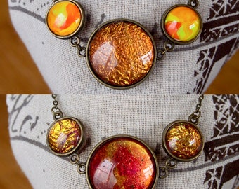 Reversible Necklace Two Sided Two Necklaces in One Orange Galaxy Necklace Dragon Scale Marble Abstract