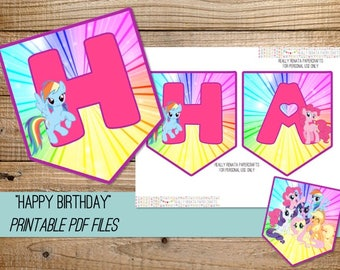 My Little Pony Printable Banner - INSTANT DOWNLOAD