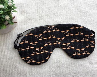 Handmade Sleep Mask/ Japanese Vintage / Flamingoes in Black
