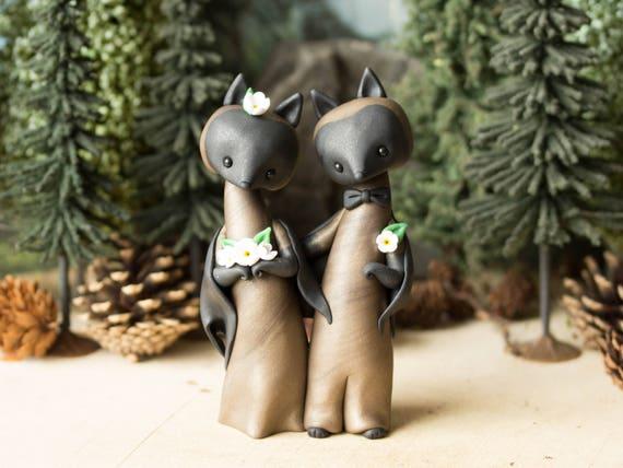 Bat Wedding Cake Topper - Flying Fox Bats for Halloween by Bonjour Poupette