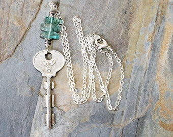 Antique Key Necklace, Light Blue Necklace, Apatite Necklace, Handmade Necklace, Aqua Necklace, Repurposed Necklace, Natural Stone Necklace