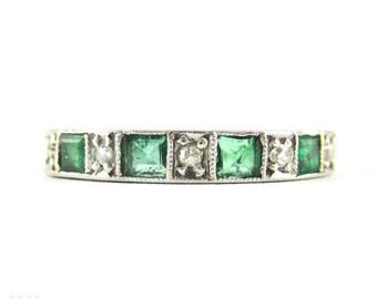 Emerald & Diamond Half Hoop Engraved Ring, Alternating Square Emeralds and Single Cut Diamonds. 18ct White Gold, Circa 1970s.