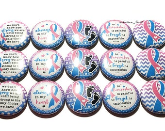 """Pregnancy and Infant Loss Magnet, Blue and Pink Ribbon, 1"""", Button Magnet, PAIL, Miscarriage Ribbon, Stillbirth Ribbon, Infant Loss Ribbon"""