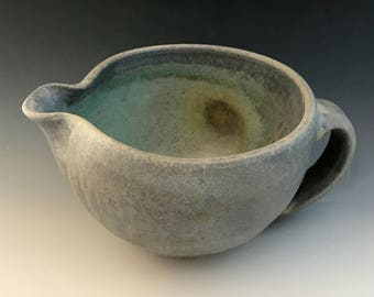 Stoneware Batter Bowl, Wood Fired Mixing Bowl, Kitchen Pottery, Medium Sized Pouring Bowl, Gravy Boat, Gray Pottery.