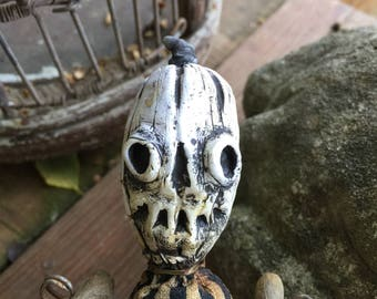OOAK Grungy Primitive Halloween JOL Folk Art Doll In Lowbrow Style For Horror Prop or Oddity Freak Show Cabinet Free Ship in USA Repurposed
