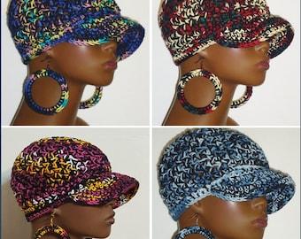 CLEARANCE 100% Cotton Chunky Crochet Baseball Cap with Hoop Earrings by Razonda Lee Razondalee