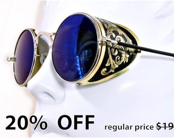 Steampunk Goggles Aviator Sunglasses Brass Side Shields Victorian engrave vintage Driving glasses Zeiss Mirror Blue Shade