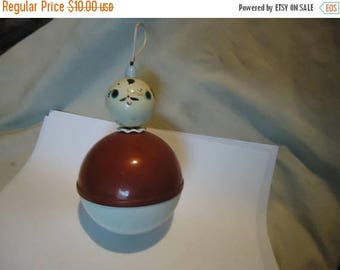 Back Open Sale Vintage Celluloid or Plastic Baby Weeble Wobble Toy, collectable