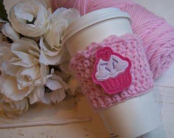 Crochet Coffee Cozy with Cupcake