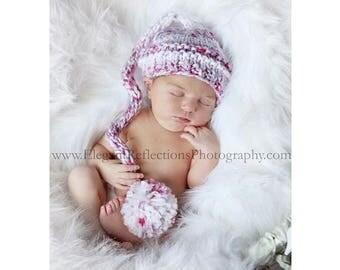 Baby Girl Hat, Knit Baby Hat, Newborn Girl Elf Hat, Newborn Boy Hat, Newborn Photo Prop, Baby Hat, Baby Stocking Hat, Knit Hat, Newborn Prop