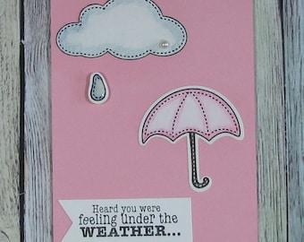 Handcrafted umbrella get well card--CB81217-13