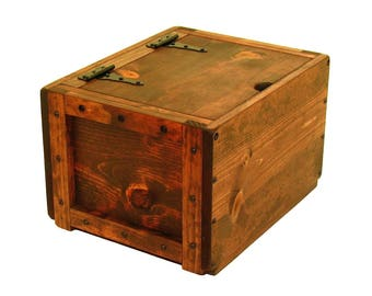 Small Trunk with Hinged Lid, Lidded Chest, Wood Crate with Lid, Lidded Wood Box, Keepsake Box, Memorial Box, Hope Chest, Wedding Card Box