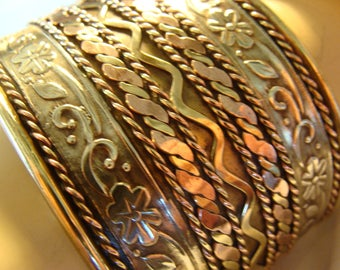 Gorgeous Silver, Brass and Copper  Cuff