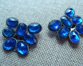 Pair of vintage 1930's  Dress Cips. Large Blue Paste stones