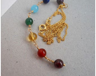 Chakra Necklace Multi Gemstones in Gold Filled and Vermeil Chain 16 or 18 inches