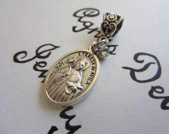 St Teresa of Avila Medal & Clear Glass Charm Pendant, Patron Saint for Headaches