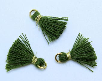 Mini Cotton Jewelry Tassels with Gold Binding and Gold Plated Jump Ring, Dark Green Tassels, 3 pcs Approx 10mm - MT14