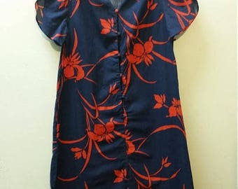 "Clear Out Sale Vintage 1970's Kimo's Polynesian Shop Hawaiian Print Dress, Navy Blue and Red, Size 40""  Bust,  #64826"