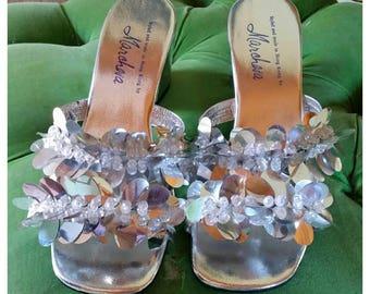 Vintage Silver Sandals, sequins, metallic, Marchesa, size 7/7.5