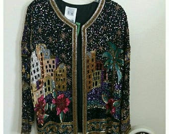 Fully Beaded Jacket by Together, City Scene, Silk
