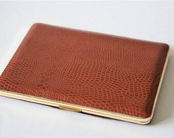 Vintage cigarette case . Brown cigarette case. Faux snakeskin