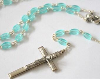 Vintage rosary.  Blue plastic bead rosary.  Rosary beads.  Italy rosary beads