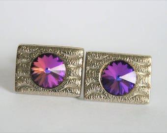 Vintage purple cufflinks.  Rivoli glass cufflinks. Goldplated cufflinks.  Retro cufflinks