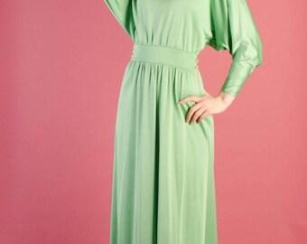 40% OFF SALE - 1970s Maxi Dress - Vintage 70s Long Dress - Seaglass Maxi Dress