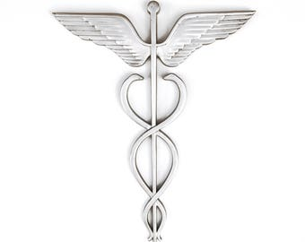 "VTG 36"" 3ft Cast Aluminum Caduceus Medical Doctor Trade Sign Hospital"