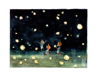 Fireflies Digital Watercolor Print -- Fox Kids Play -- Field Outside Night Nature -- Wilderness Outdoor Camping -- Fun Cute Animal Art