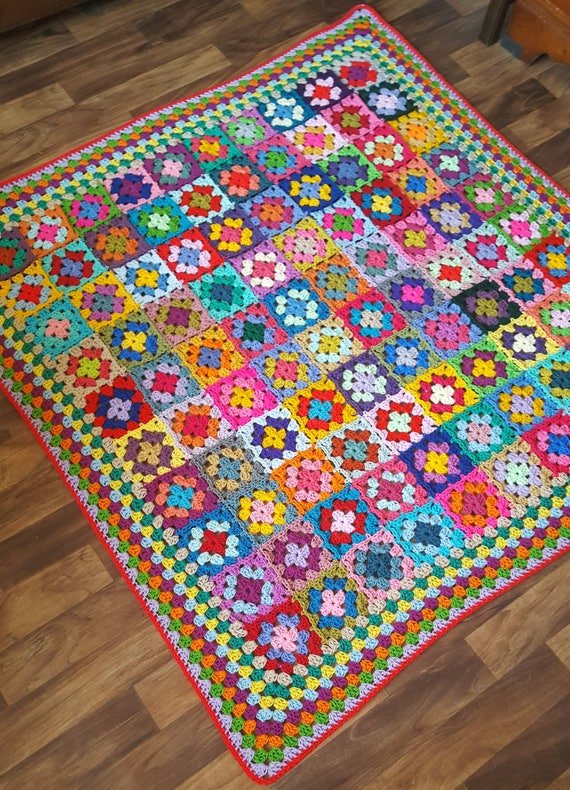 Crochet Blanket Fabulous Bright Colourful Granny Squares Afghan 50 x 50